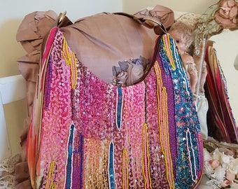 rainbow bag, big beaded purse, sequins seed beads, rainbow purse, multicolour trims