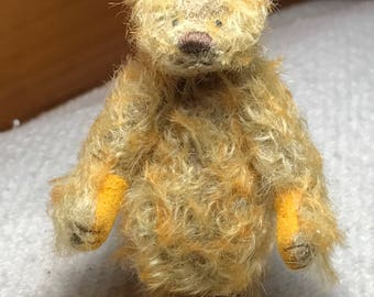 Miniature Hand Sewn 3in. GOLDEN ORANGE Mohair Teddy Bear Purse