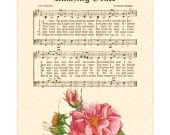 AMAZING GRACE AKA When We've Been There Ten Thousand Years Wall Art Home & Office Decor Sheet Music Vintage Verses Inspirational Hymn Rose