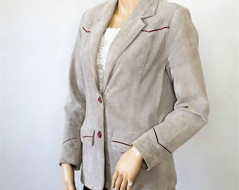 Gray Suede Blazer Jacket Leather Vintage Riding Jacket Style 1970's Women's Size 12