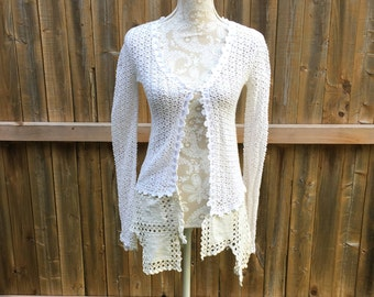 Altered Women's White Crochet Ribbon Top, Altered Couture, Magnloia Pearl Style- Small, Shrug, Shabby Chic Jacket, Romantic Top,Vintage Trim