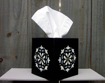 Black Tissue Box Cover, Ivory, Gray, Medallion, Tissue Cover, Painted, Boutique Size, Home Decor, Hand Painted, Tissues