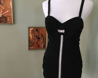 1950s Catalina Juniors Black and White One Piece Bathing Suit with Adjustable Straps-XS