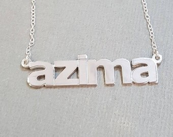 Double Thick All Lower Case Name Necklace with Any Name up to 13 Letters, solid sterling silver, perfectly cut and polished, verdana font