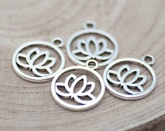 Lotus Charm, 12pcs, 20mm,   Lotus Pendant, Antique Silver,   Lotus Flower