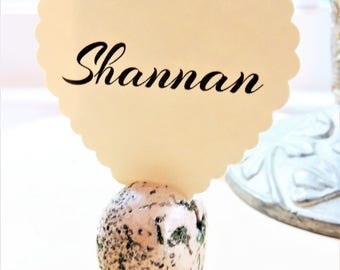 PLACE CARD HOLDER Wedding Escort Card Holders Wedding Stands Card Holders Egg Bird Clay Moss Wedding Table Name Card Holder Seating Setting