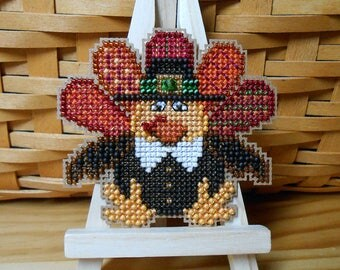 Tom Turkey Cross Stitched and Beaded Thanksgiving Autumn Ornament, Pin, or Magnet - Free U.S. Shipping