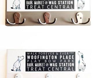 Dog Subway Art Leash Hook Block - Rustic Finish - Watercolor Dog- Home Decor- Mudroom Decor- Dog Wall Art- Milk Paint
