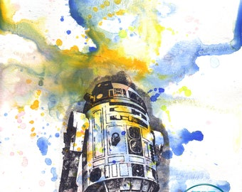 Star Wars Art Print R2D2 Poster Print From Watercolor Painting Star Wars poster print 13 x 19 in. Star Wars Print Star Wars Baby Decor