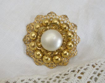 Vintage Gold Brooch with Faux Pearl