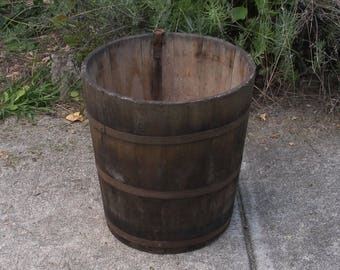 Antique Vintage Wood Sap Bucket - Primitive Wooden Bucket