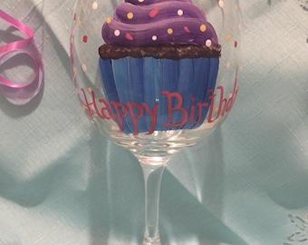 Happy Birthday Wine Glass Hand Painted