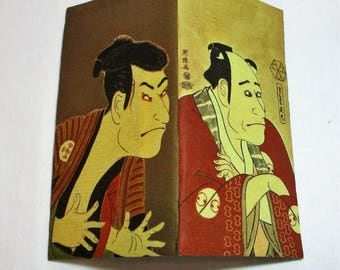 Deadstock Japanese paper, Zemliya Wallet/Checkbook holder with two Kabuki actors