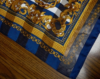 Vintage Scarf Chains Medallions Sheer Stripes Navy & Gold
