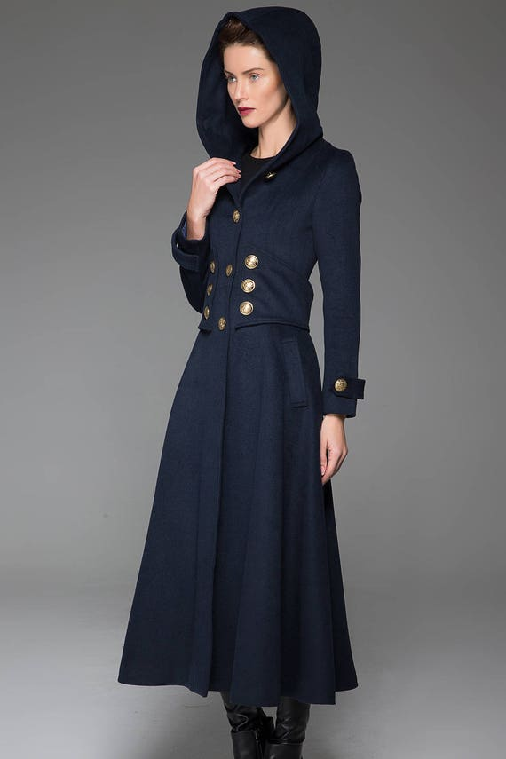 Navy Coat Navy Blue jacket Wool coat military coat long