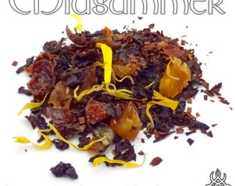 Midsummer Loose Tea - loose leaf honeybush black tea, raspberry peach, pagan holiday, Wiccan Sabbat, pagan altar offering, summer solstice