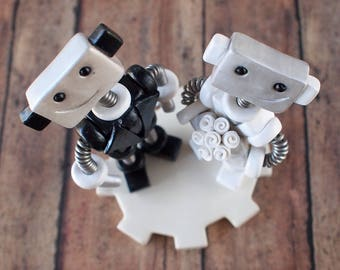 Robot Wedding Cake Topper READY TO SHIP Cute Bots Smirk Smiles (4 inches)