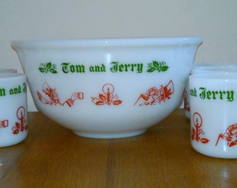 Hazel Atlas Eggnog Punch Bowl and Cups