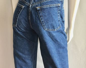 Vintage Women's 80's American Blue Jeans, High Waisted, Straight Leg, Denim (M)
