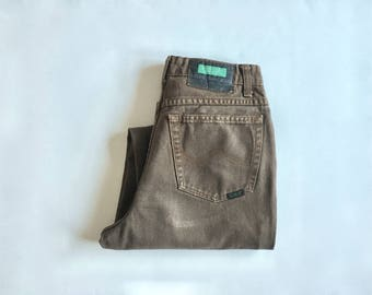Vintage Women's 80's Benetton, Brown Jeans, High Waisted, Tapered Leg, Denim (S)