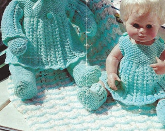 vintage Dolls Clothes Knitting Pattern, Dolls Clothes Knitted Layette Pdf