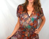 Vintage Floral Semi-sheer Summer 1970s 70s Dress