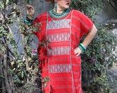 Red and aqua Huipil Dress Handwoven