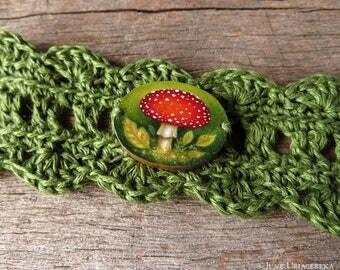 Mushroom, Hand Painted Woodland Bracelet/Cuff