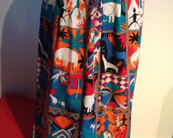 Exotic 1970 Print SKIRT.  Sophisticates by Jonathan Martin.  Size 12.  Cotton.  Made in USA. Vintage.