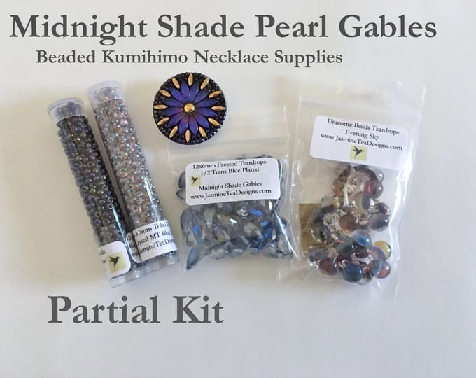 Midnight Shade Pearl Gables Necklace, Beads and Button Only Kit, Partial Kit for Midnight Shade Pearl Gables Beaded Kumihimo Necklace
