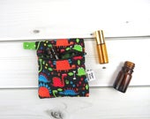 Mini Essential Oil Bag, Essential Oil Case - Tiny Dino - dinosaur roller bottle case essential oil storage IEM case earbud holder rollerball