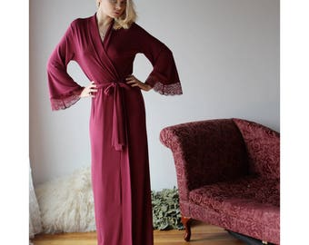 long bamboo robe with lace trimmed bell sleeves - NOUVEAU womens bamboo sleepwear range - made to order