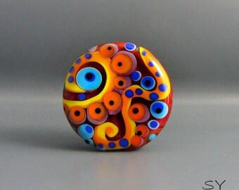 Flower Power- Peacock design- lampwork Art Glass - Its an original  Michou P. Anderson Design - Brand: Sonic & Yoko