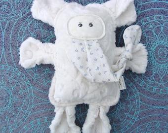 Plush Elephant - Cream Ecru Textured Minky and Moon Star Cotton Print - Stuffed Elephant Friend - My Original Design Pattern