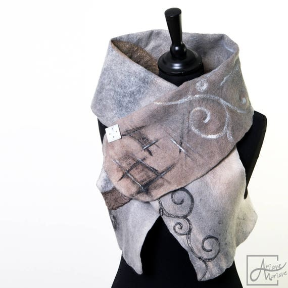 Outstanding Wearable Art Women Garment - Felted Merino Wool Vest - Paris Design Earth shaded -  Reversible Women Vest - Convertible Bolero