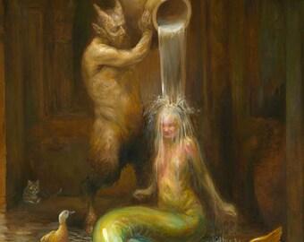 Splash (print) mermaid bath, faun, satyr, duck, artwork, cat, bathroom decor
