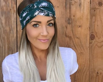 Philadelphia Eagles Vintage Style Turban Headband || Hair Band Accessory Cotton Workout Yoga Fashion Green Black White Head Scarf Girl