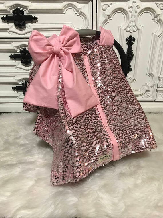 Pretty N Pink , car seat cover , car seat canopy , Jumbo bow included