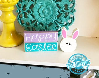 Happy Easter Bunny Blocks- Easter Decor, Easter Decorations, Easter Bunny Decor, Easter Bunny Blocks, Spring Decor Spring Block Bunny Blocks