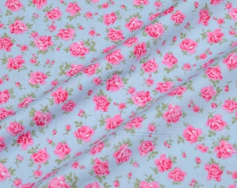 """Quilt Half Yard Cotton Fabric 18x44"""" Chic Pink English Floral Roses in Blue"""
