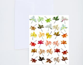 Ombre Leafs - Fall  - Illustrated Watercolor Greeting Card - A-2