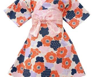Girls Kimono PLUM BLOSSOM Yukata Modern Kimono Girls Baby Toddler Japanese