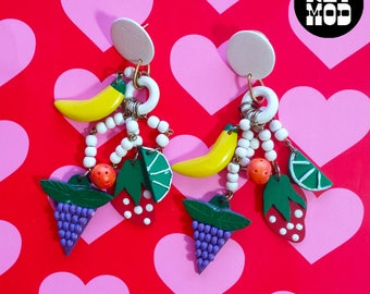 Fruity Vintage 90s Wood Fruit Grapes, Banana, Strawberries, Oranges and Limes Dangle Wood Earrings