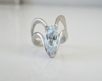 Vintage Sterling Silver 925 Custom Made Sand Cast Genuine Marquise Cut Aquamarine Unique Ring Size 8