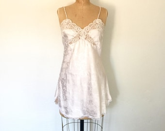 Blush Pink Dior Slip Dress Lace Trim Floral Vintage 1980s Lingerie S/M