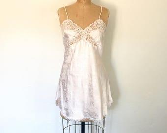 Blush Pink Dior Slip Dress Lace Trim Floral Vintage 1980s Lingerie S/M