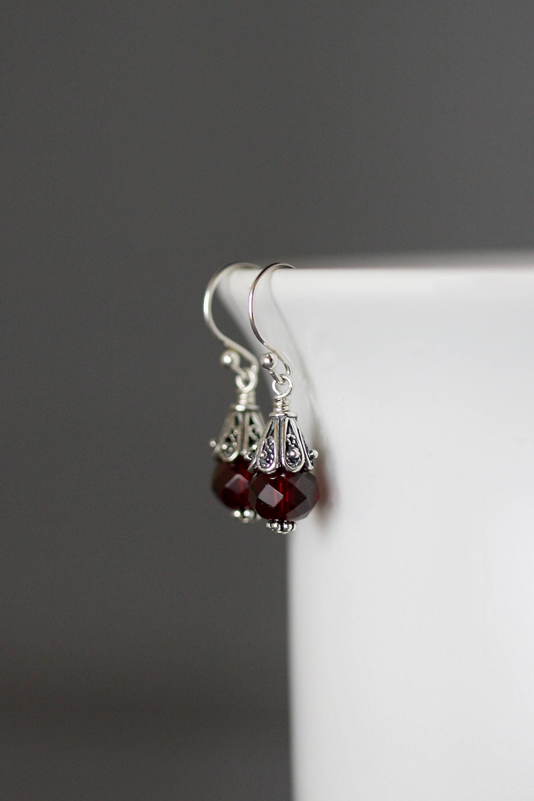 small cluster black garnet rutilated romance quartz design rhodolite valltasy the earrings red with