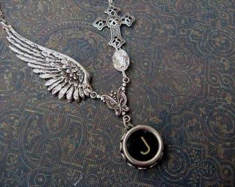 Wing and a Prayer - Typewriter Key Necklace - Initial J - Typewriter Key Jewelry