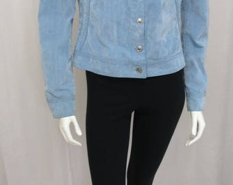 Versace Jeans Couture by Gianni Versace Designer semi distressed chambray blue corduroy jacket S