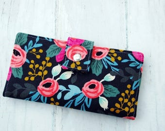 Wallet Women-Floral wallet-Linen wallet-Wallet for women-Vegan wallet-Rifle Paper wallet-Women's gift-Gift for Woman-Elegant wallet